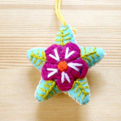 メキシコ 刺繍スターチャームS(ライトブルー)