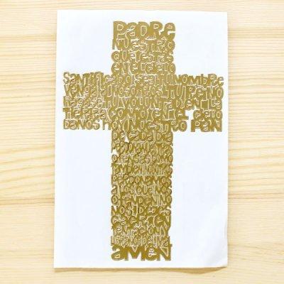 メキシコ ステッカー十字架L(ゴールド)