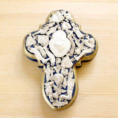 メキシコ 十字架ミラグロハートM(ブルー)