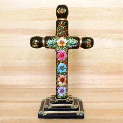 メキシコ 十字架ウッドスタンドL(ブラックB)[20cm]