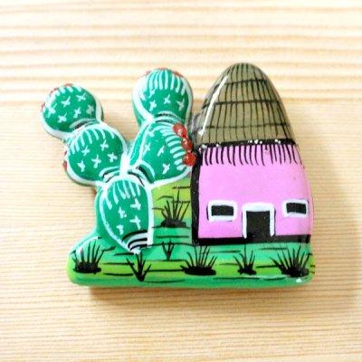 メキシコ 陶器マグネットサボテン