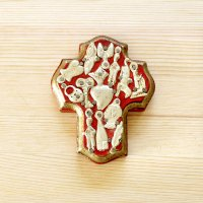 メキシコ 十字架ミラグロハートS(レッド)
