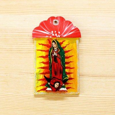 メキシコ 壁飾りウッドマリアS(レッド)