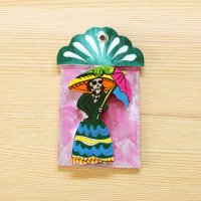 メキシコ 壁飾りウッドガイコツS(グリーン)