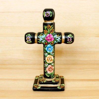 メキシコ 十字架ウッドスタンドM(ブラックA)[16cm]