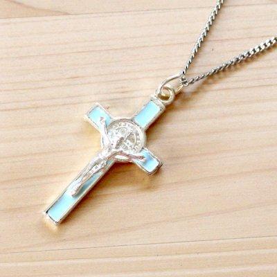 メキシコ ペンダントトップ十字架キリストM(ライトブルー)