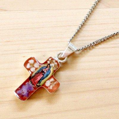 メキシコ ペンダントトップフラワー十字架マリアS(オレンジ)