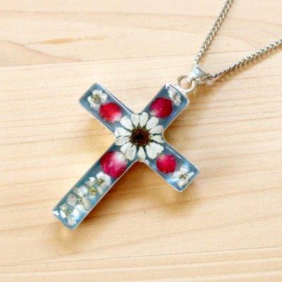 メキシコ ペンダントトップフラワー十字架L(ライトブルー)