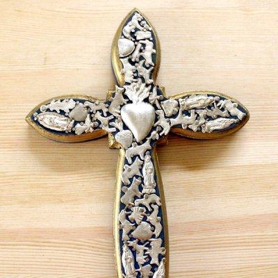 メキシコ 十字架ミラグロハート細L(ブルー)