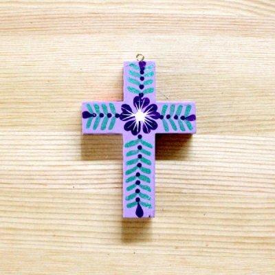 メキシコ 十字架ウッドペイントSS(パープル)