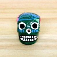 メキシコ ガイコツ陶器メキシカンスカルトリSS(グリーン)
