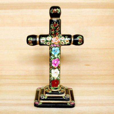 メキシコ 十字架ウッドスタンドL(ブラックC)[20cm]