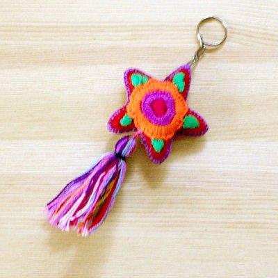 メキシコ 刺繍スターフリンジキーホルダー(B)