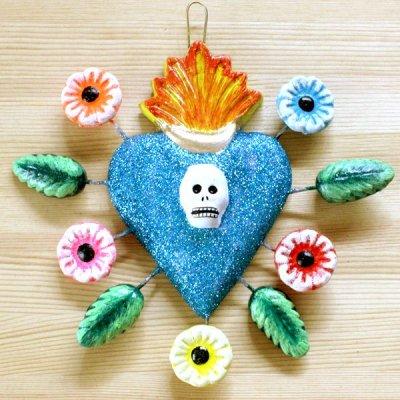 メキシコ 陶器ハートガイコツフラワーL(ブルー)