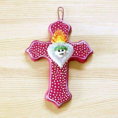メキシコ 十字架ハートガイコツカトリーナM(パープル)