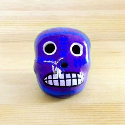 メキシコ ガイコツ陶器メキシカンスカルトリSS(ブルー)
