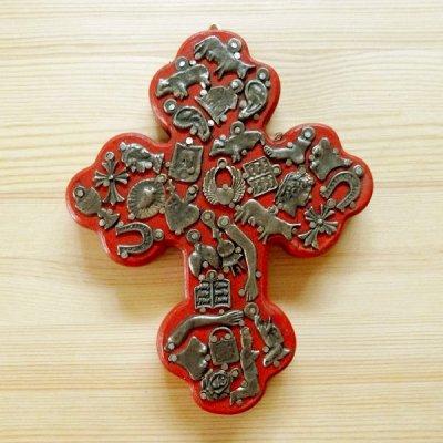 メキシコ 十字架ミラグロハートM(レッド)[16cm]