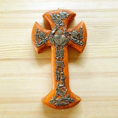 メキシコ 十字架ミラグロハートM(オレンジ)[19cm]