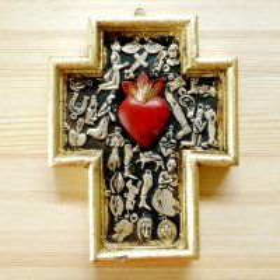 メキシコ 十字架ミラグロハートL(ゴールド)[18cm]