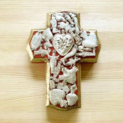 メキシコ 十字架ミラグロハートM(レッド)