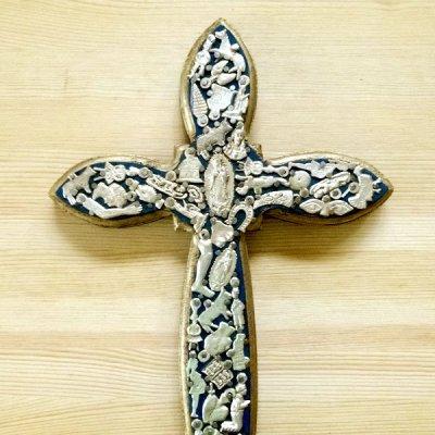 メキシコ 十字架ミラグロマリア細L(ブルー)