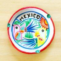 メキシコ 陶器灰皿ラウンドトリM(ホワイトB)