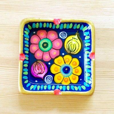 メキシコ 陶器灰皿スクエアフラワーM(ブルー)