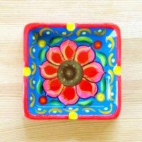 メキシコ 陶器灰皿スクエアフラワーM(ライトブルー)