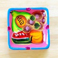 メキシコ 陶器灰皿スクエアフルーツM(ピンク)