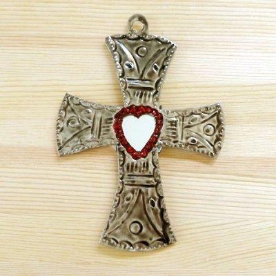 メキシコ 十字架ブリキミラーレッドM(A)