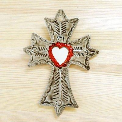 メキシコ 十字架ブリキミラーレッドM(C)