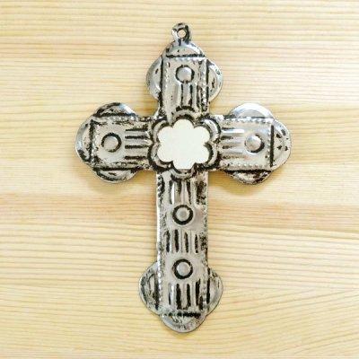 メキシコ 十字架ブリキミラーシルバーM(A)