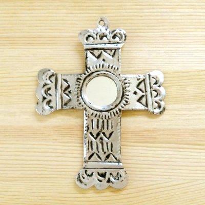 メキシコ 十字架ブリキミラーシルバーM(B)