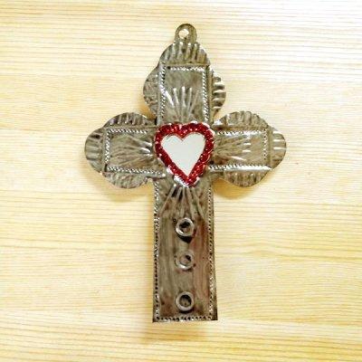 メキシコ 十字架ブリキミラーレッドM(D)
