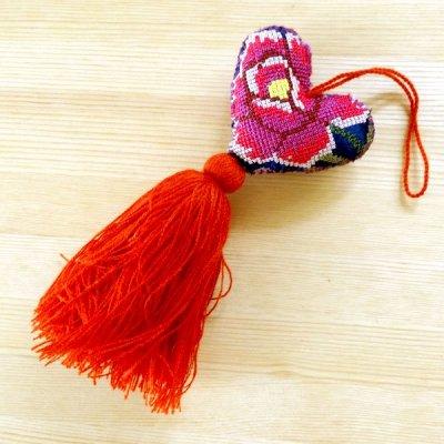メキシコ シナカンタン刺繍ハートチャームS(G)