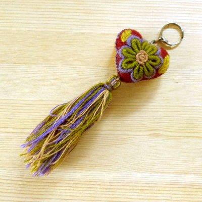 メキシコ 刺繍ハートフリンジキーホルダー(C)