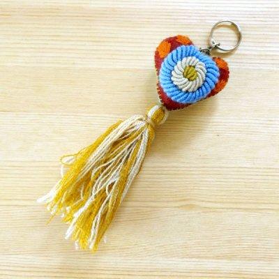 メキシコ 刺繍ハートフリンジキーホルダー(D)