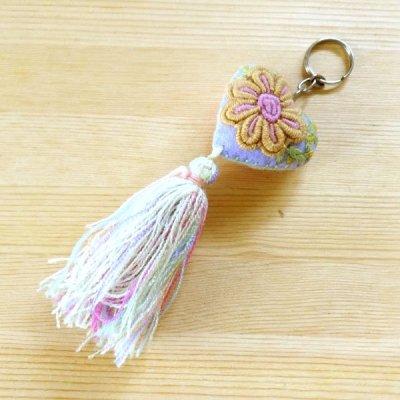 メキシコ 刺繍ハートフリンジキーホルダー(L)