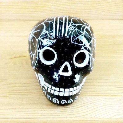 メキシコ ガイコツ陶器メキシカンスカルM(ブラックD)