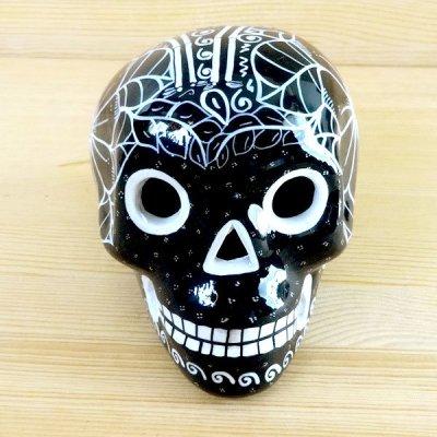 メキシコ ガイコツ陶器メキシカンスカルL(ブラックC)