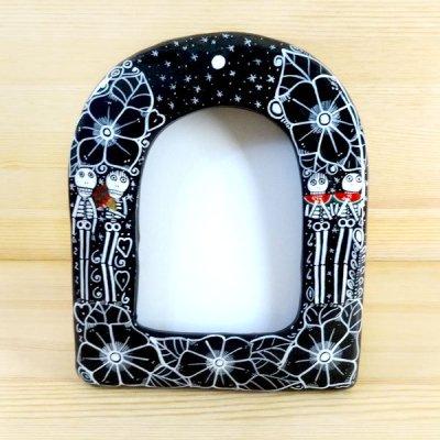 メキシコ  陶器フレームガイコツ(B)