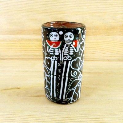 メキシコ 陶器テキーラグラスガイコツ(A)