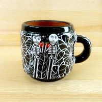 メキシコ 陶器マグカップガイコツ(ブラックC)