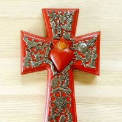 メキシコ 十字架ミラグロハートL(レッド)[24cm]