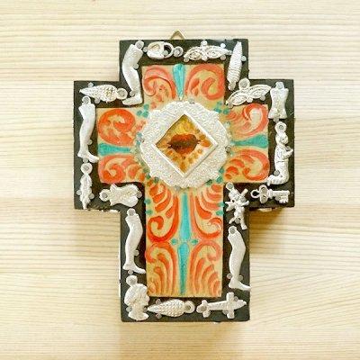 メキシコ 十字架ミラグロペイントハートM(オレンジ)[15cm]