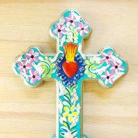メキシコ 十字架ミラグロペイントハートL(F)