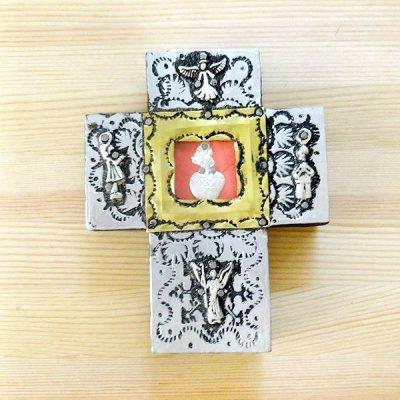メキシコ 十字架ミラグロシルバーハートM(B)