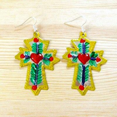 メキシコ ブリキピアス十字架(イエロー)