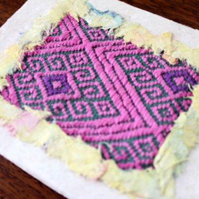 メキシコ 刺繍ノートサンアンドレスララインサール織(ピンク)