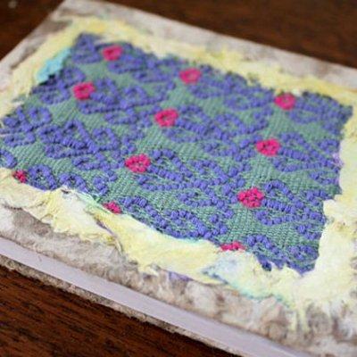 メキシコ 刺繍ノートサンアンドレスララインサール織(ブルー)